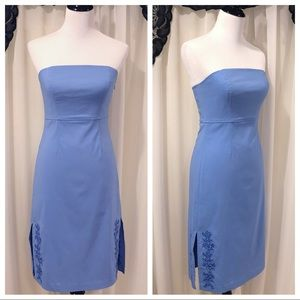Express Blue Strapless Embroidered Sheath Dress